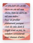 LA VALEUR DE LAVIE